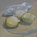 lemons, pear, paper, charger - oil on linen 2016, jacob de graaf